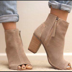 Toms Majorca peep toe suede booties tan size 8.5